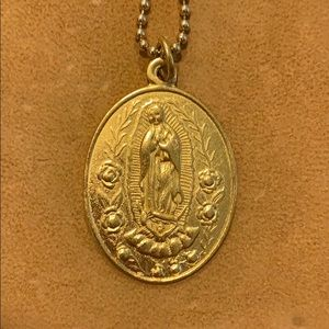 Vintage Virgin of Guadalupe long gold necklace